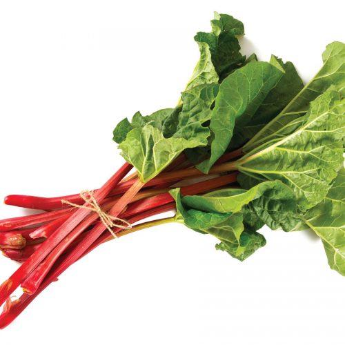 In season mid spring: Cherry red rhubarb and Mary Washington asparagus