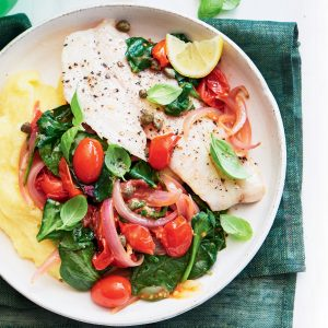 Italian-style fish with capers and polenta