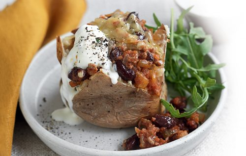 Jacket potato with Mexican beef and beans