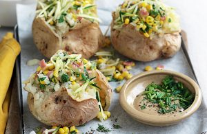 Jacket potato with bacon, corn, chives and cheddar