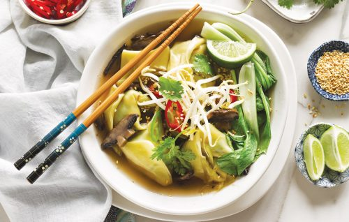 Japanese chicken and white miso dumpling soup