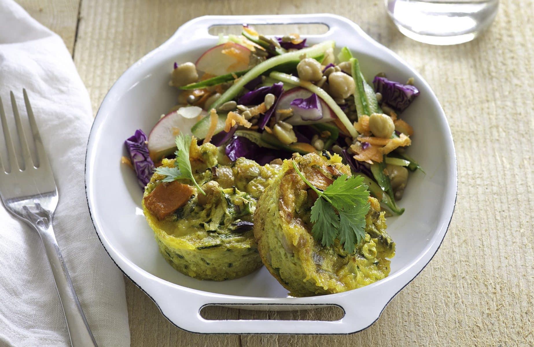 Kumara and chickpea quiches with rainbow salad healthy food guide kumara and chickpea quiches with rainbow salad forumfinder Gallery