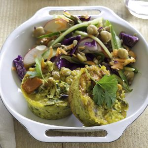 Kumara and chickpea quiches with rainbow salad