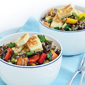 Kumara, capsicum and wild rice salad with orange dressing
