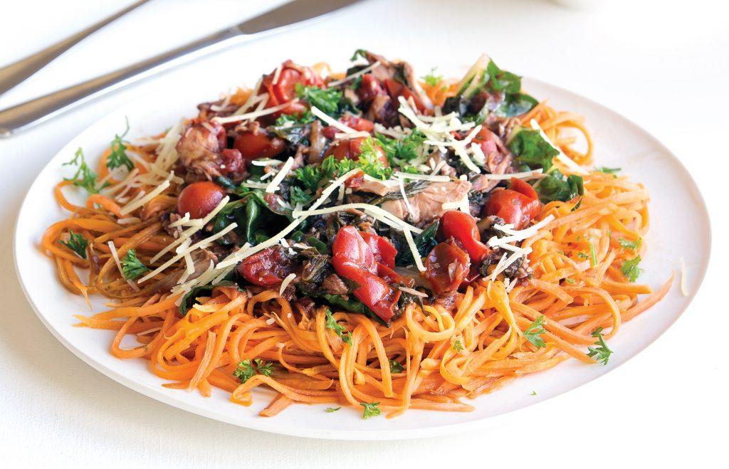 Kumara 'pasta' with tuna and tomato