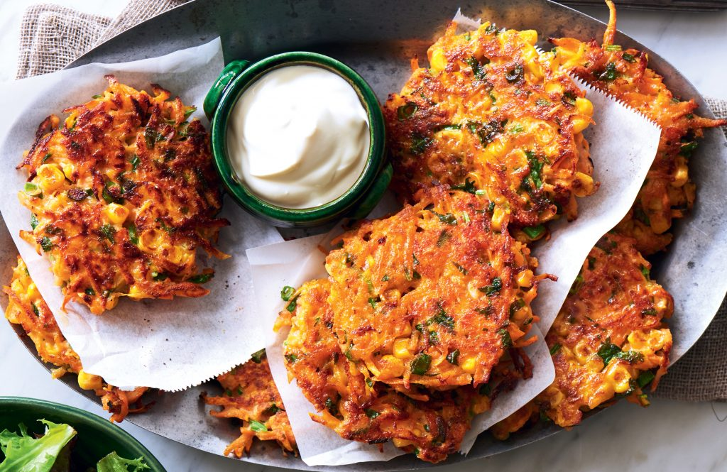 Kumara, salmon and corn fritters