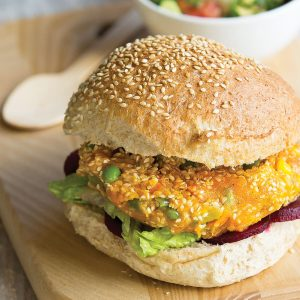 Kumara vege burgers with avocado salsa