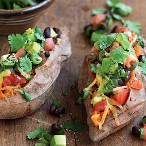 Kumara with black beans, jalapeno and avocado