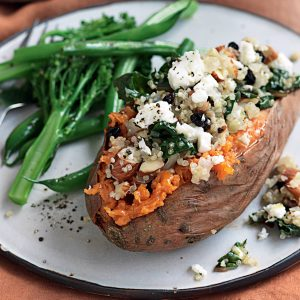 Kumara with quinoa, silver beet, almonds and feta