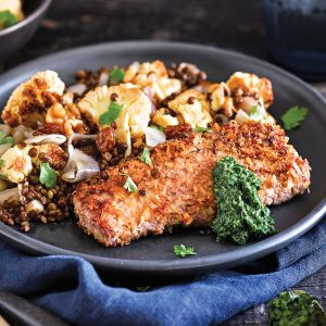 Lamb schnitzel with cauliflower and lentil salad and mint pesto