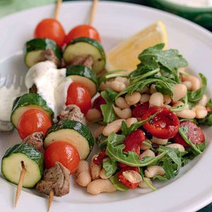 Lamb and courgette skewers with yoghurt mint dressing