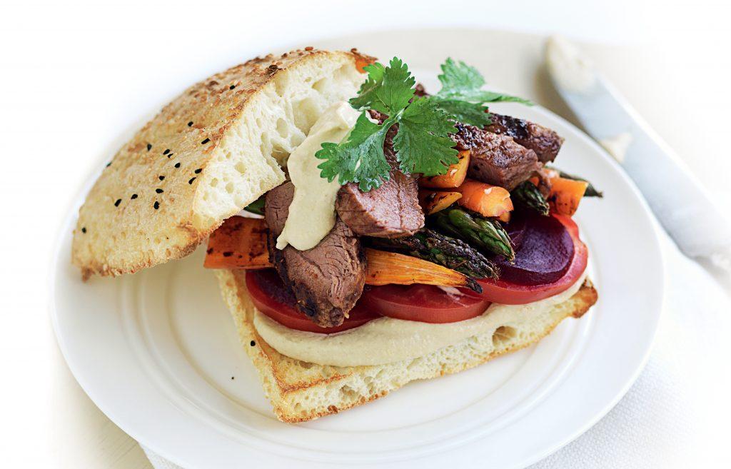 Lamb burgers with hummus