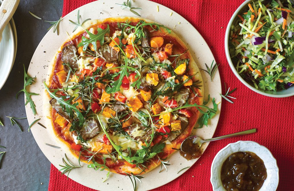 Lamb, kumara and rosemary pizza