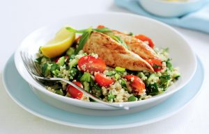 Lemon and garlic chicken with quinoa tabouli