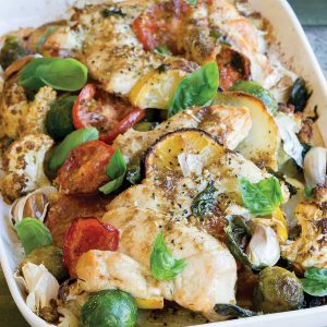 Lemon chicken vege bake