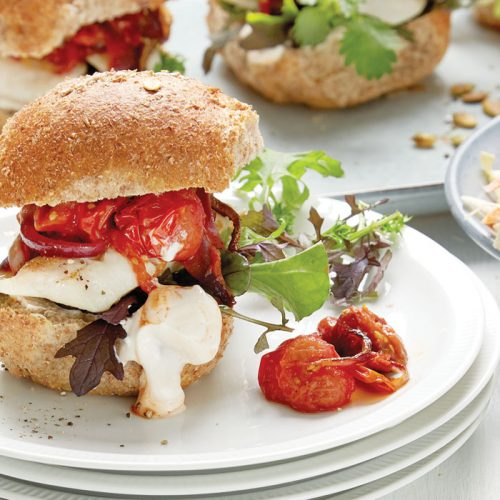 Lemon grilled fish burger with roasted tomato salsa