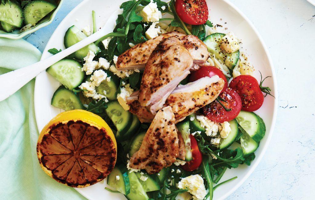 Lemon pepper chicken with risoni rocket salad