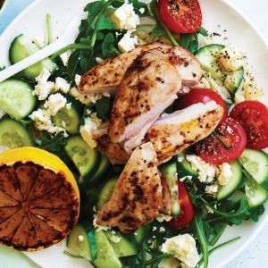 Lemon pepper chicken with risoni rocket salad