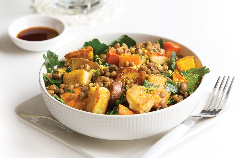 Lentil and haloumi salad with pomegranate dressing