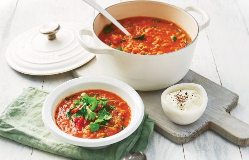 Lentil, tomato and ginger curry soup