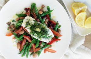 Light lemon and herb fish with mixed-bean salad