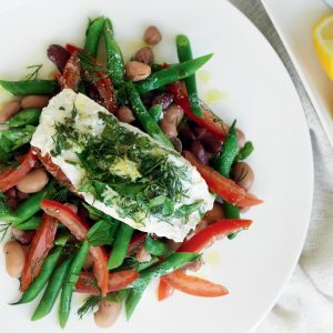 Light lemon and herb fish with mixed-bean salad