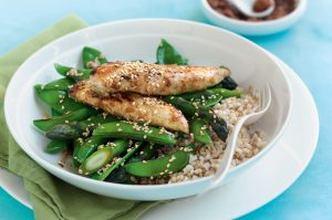 Lime, ginger and five-spice chicken with sesame greens