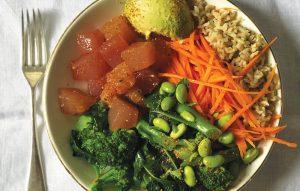 Marinated tuna and avocado bowl
