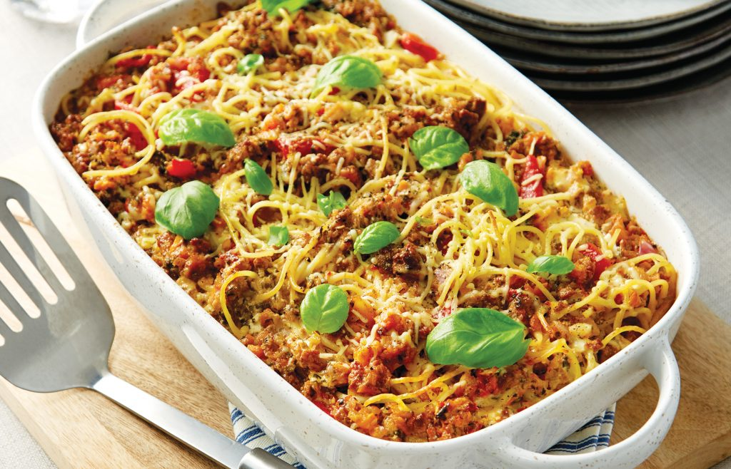 Mediterranean vegetarian spaghetti