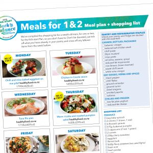 Weight-loss meal plan: Serves 1 & 2