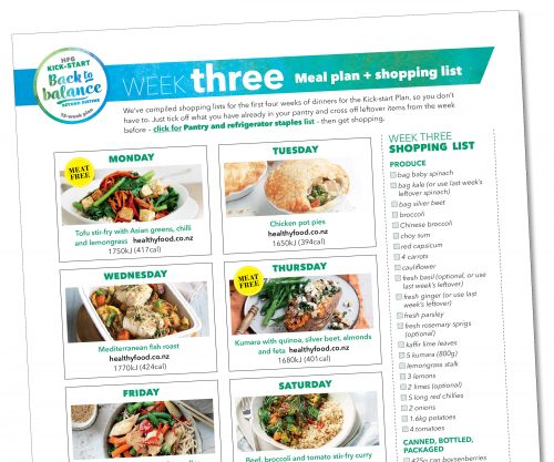 Kick-start meal plan: Week three