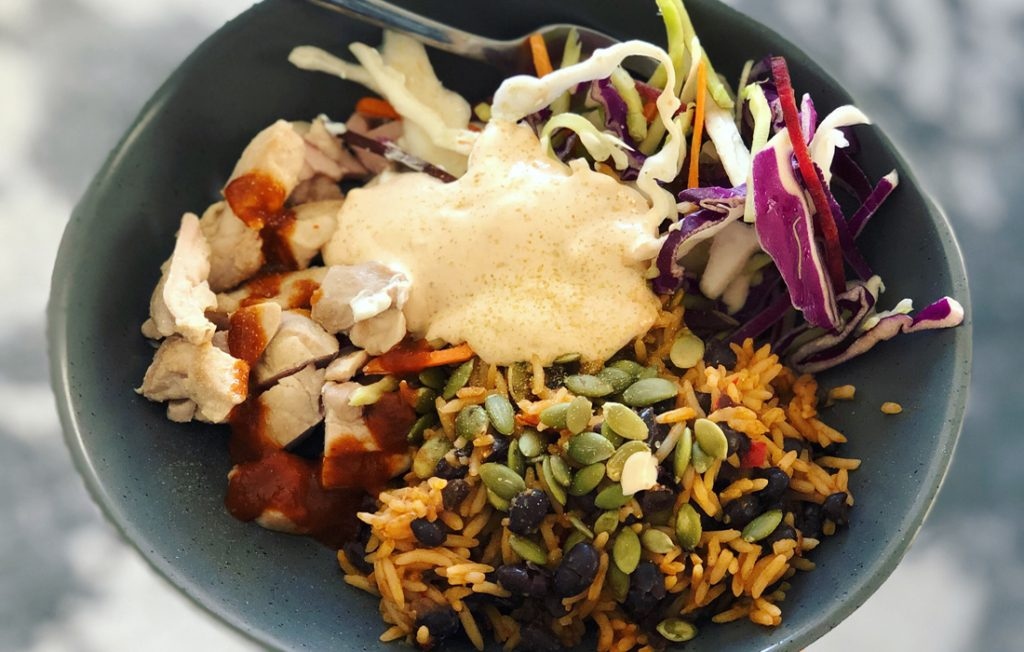Mexi spiced rice with chicken and slaw