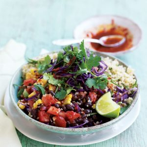 Mexican quinoa salad with lime dressing