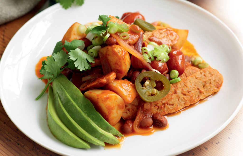 Mexican-style potato sauté with tempeh