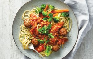 Mince meatballs with spaghetti