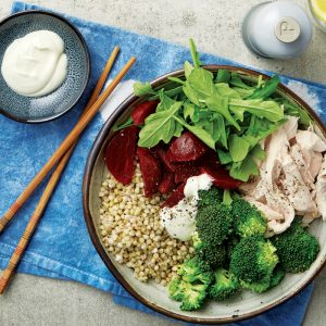 Miso-poached chicken and buckwheat bowl