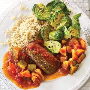 Moroccan lamb with toasted Brussels sprouts