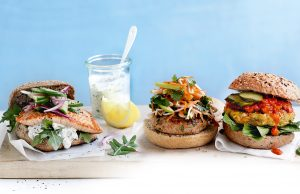 Moroccan pumpkin, chickpea and haloumi burgers