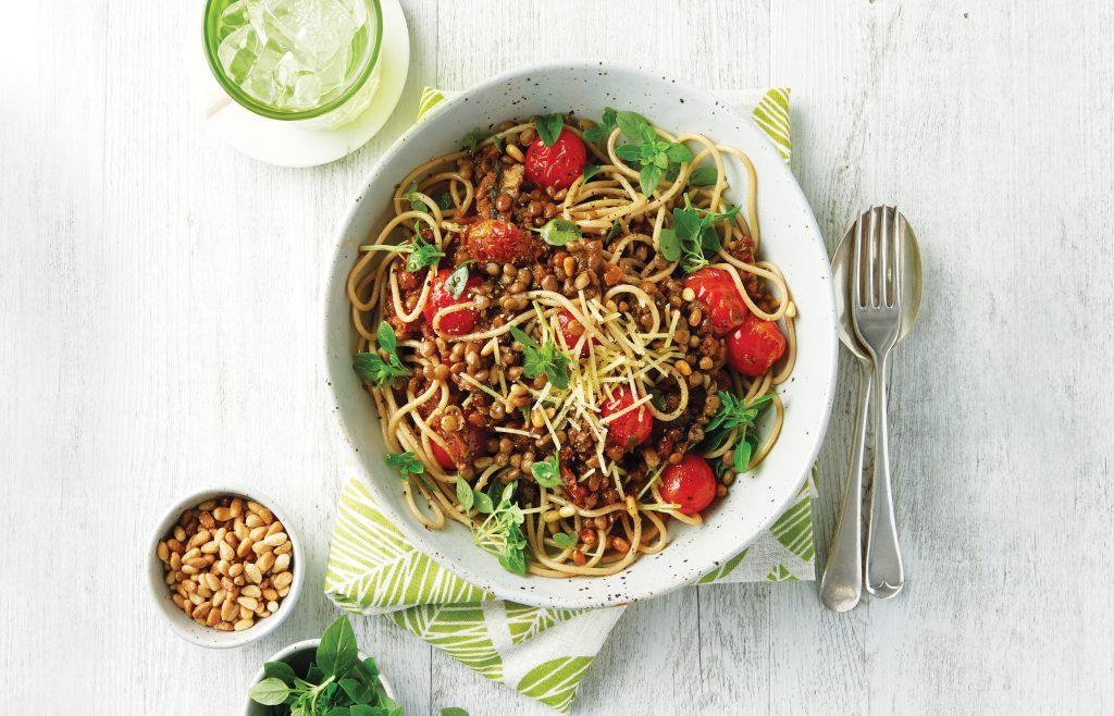 Mushroom and lentil spaghetti