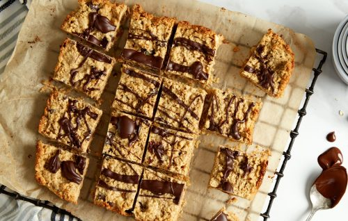 Nutty oat and chocolate slice