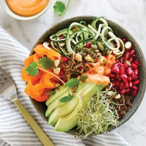 Nutty courgette 'noodle' bowl