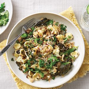 Orechiette with roast cauliflower and garlic-lemon crumb