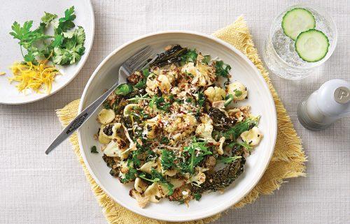 Orechiette with roast cauliflower and garlic-lemon crumb