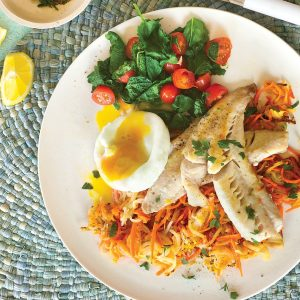 Pan-fried fish with poached egg on potato rosti