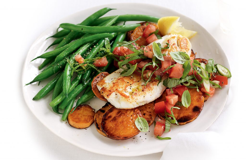 Pan-fried snapper with tomato and basil salsa