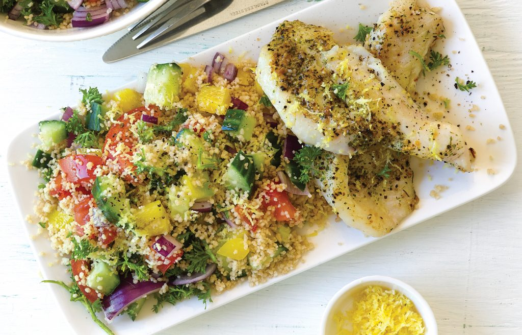 Pan-seared fish with couscous tabbouleh salad
