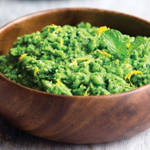 Pea, mint and spinach mash