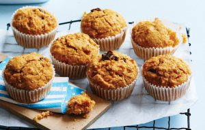 Pear, raisin and carrot muffins