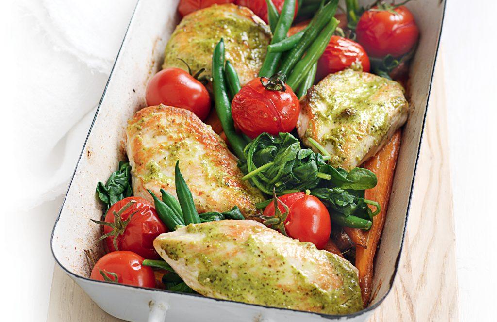 Pesto chicken tray bake