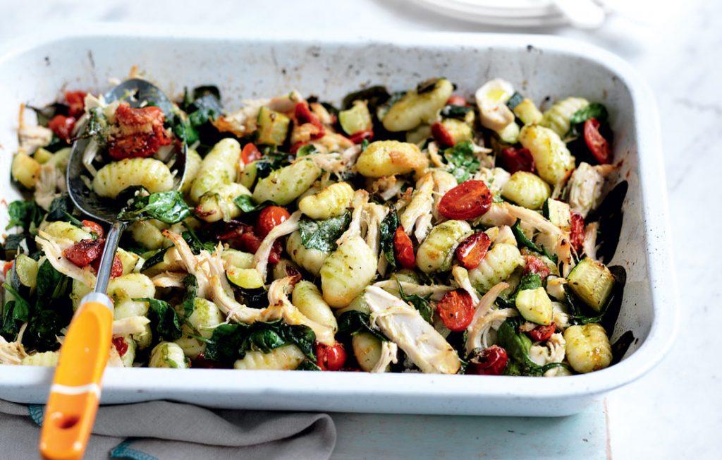 Pesto gnocchi and chicken bake